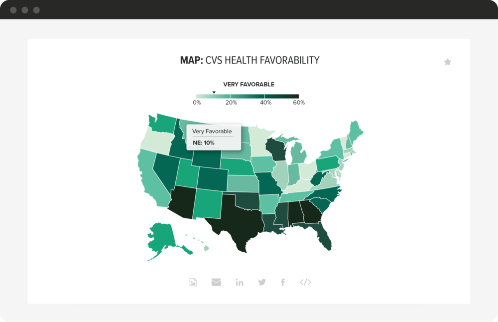 A Morning Consult Intelligence map chart depicting Starbucks's favorability by U.S. state